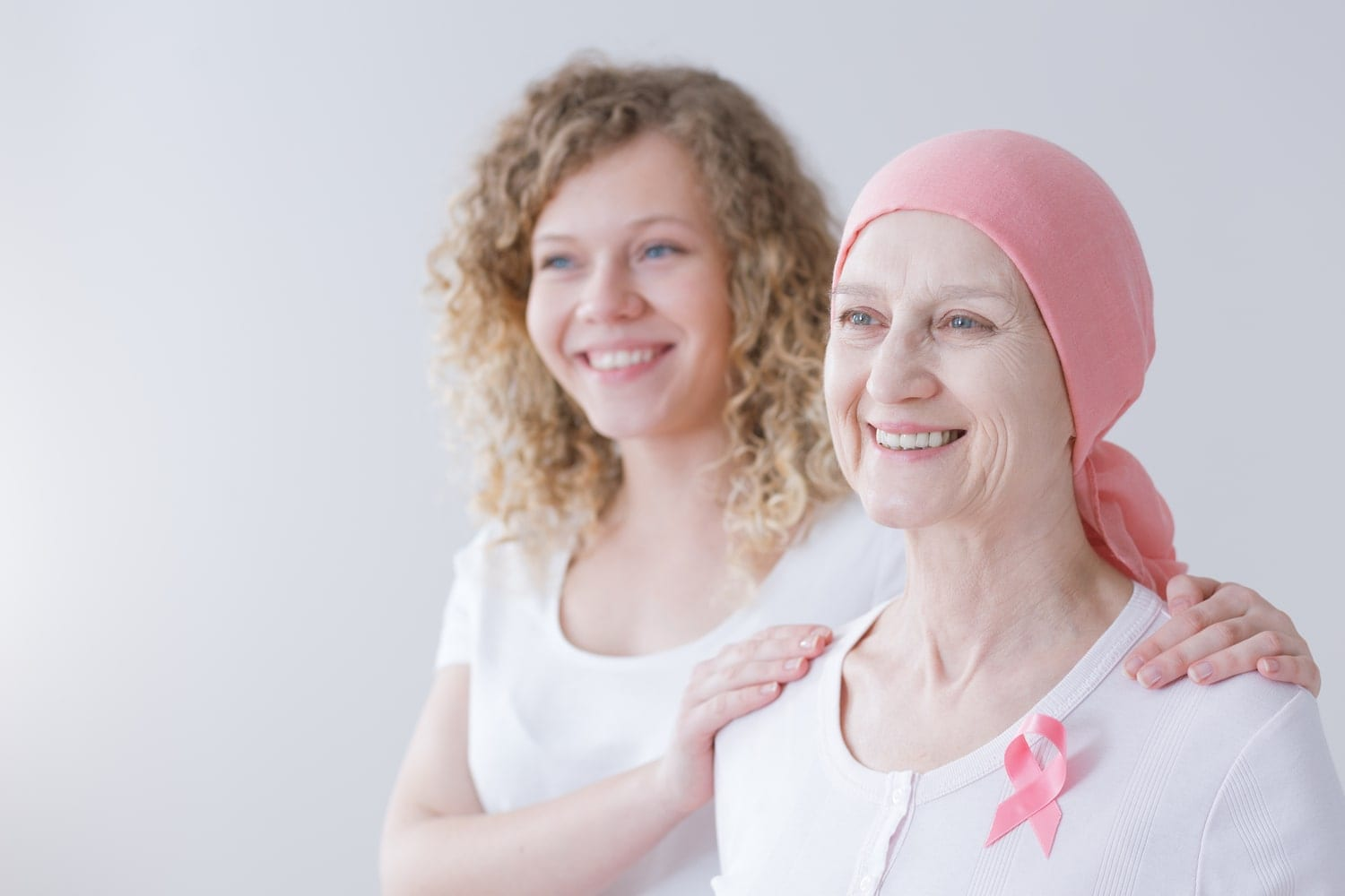 Mother with cancer and her daughter