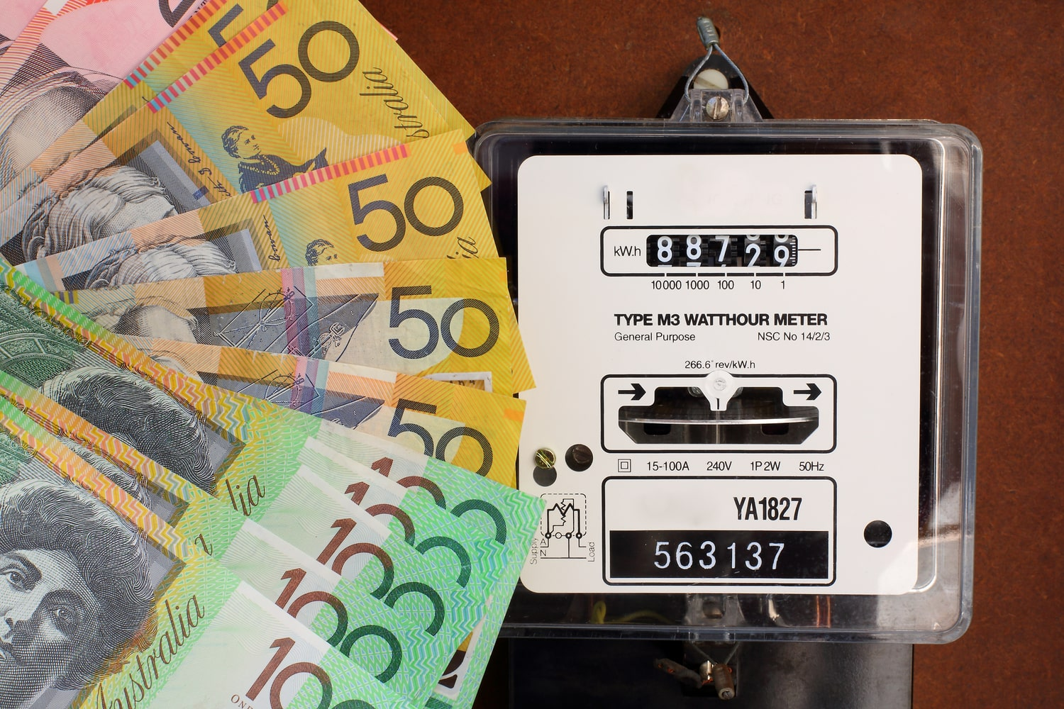 Hundreds of Aussie dollars by an electricity meter