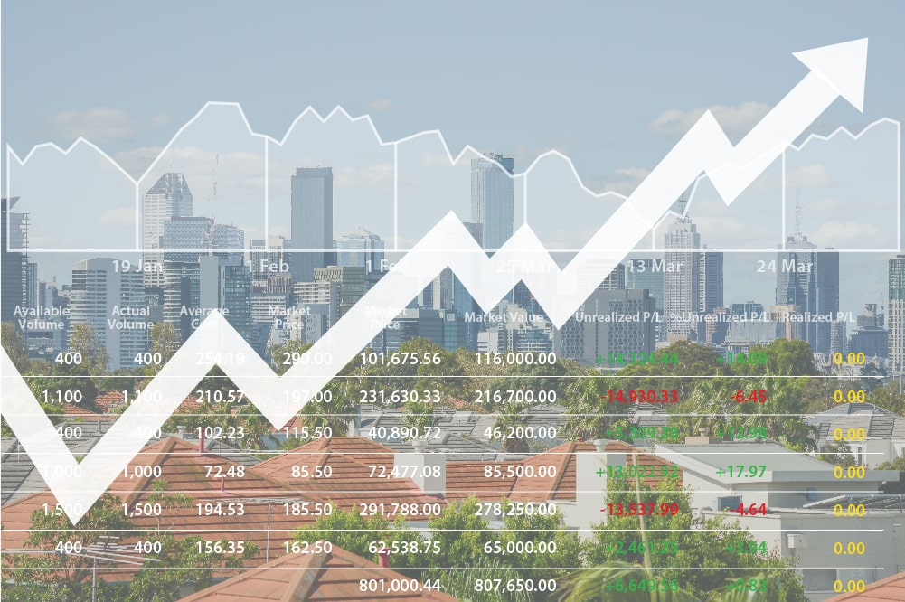 Graph heading upwards over Melbourne acting as a depiction of rising home loan rates across Australia