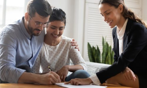 Young couple getting a mortgage pre-approval